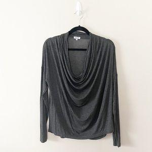 Splendid Draped Neck Luxe Long Sleeve T-Shirt